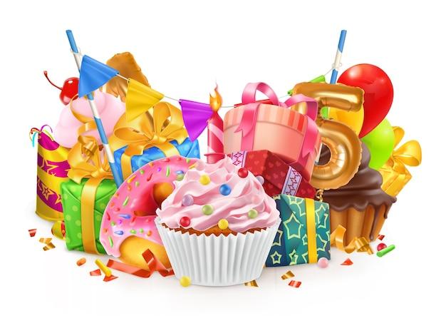 幸せな休日。カップケーキ、ギフトボックスのイラスト