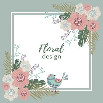 幸せな休日。かわいい落書きパステル花と鳥
