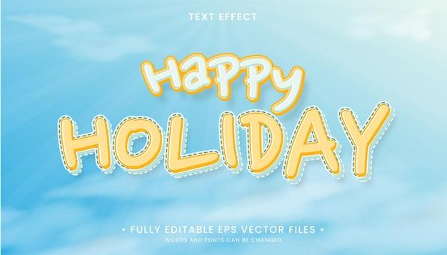 Happy holiday editable text effect Premium Vector