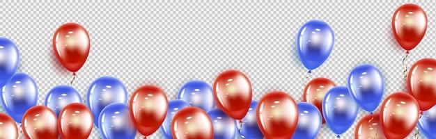 幸せな休日。赤と青のゲル風船。横型バナー