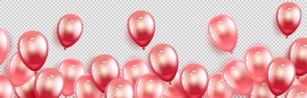 幸せな休日。赤とピンクのゲル風船。横型バナー