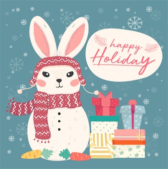 Happy holiday greeting card. cute flat vector bunny snowman with pile of gift boxes and snowflake falling