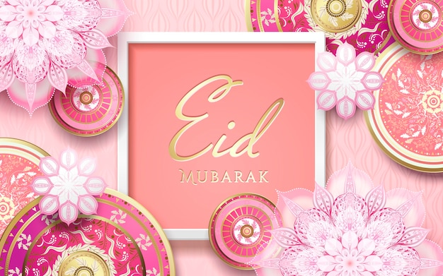 Happy holiday in islamic world with romantic pink floral design