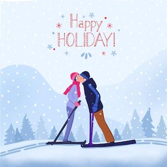 Happy holiday winter иллюстрация поцелуй