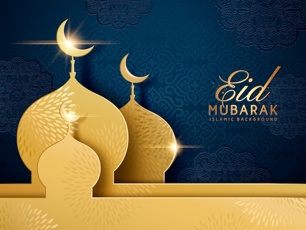 Happy holiday words with golden mosque and floral dark blue background
