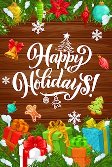 С праздником и рождеством, плакат с пожеланиями зимнего приветствия. рождественские подарки и украшения, пряничный человечек и печенье на дереве, снежинки, золотой колокольчик и пуансеттия