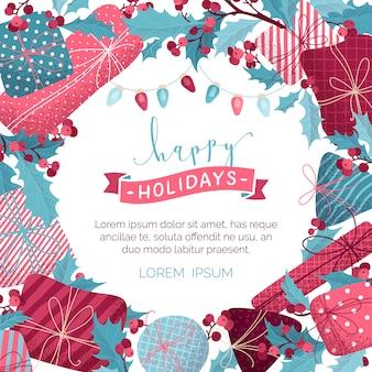 Счастливых праздников фон. подарки, листья и ягоды омелы, гирлянды из розовых и голубых ламп. плоский шаблон рождественская открытка. рисованная текстура зерна