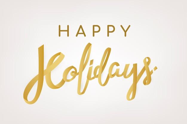 Buone vacanze sfondo, vettore di tipografia di saluto d'oro