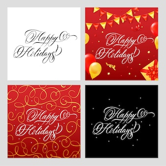 Happy holidays banners set