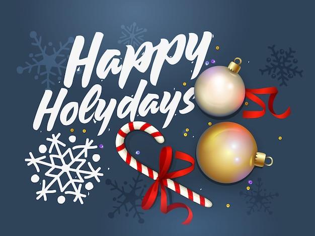 ハッピーホリデーカード。クリエイティブな新年あけましておめでとうございますデザイン。クリスマスの背景。