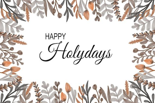花のフレームと幸せな休日カード