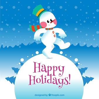 Happy holidays card with a funny snowman