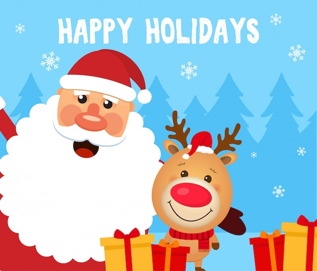 Happy holidays card with santa claus, deer, winter forest and gifts.