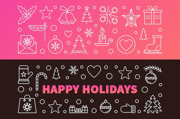 Happy holidays colored  outline banners