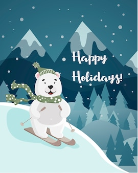 Happy holidays cute polar bear on skis on the  winter landscape