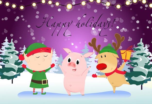 Happy holidays greeting card. cartoon pig