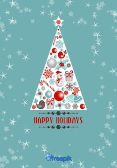 Happy holidays greeting card of christmas tree with christmas objects inside