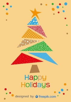 Happy holidays greeting card of colorful christmas tree