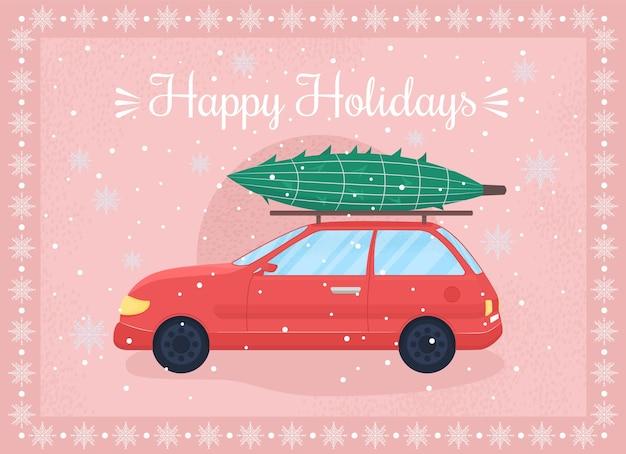 ハッピーホリデーグリーティングカードフラットテンプレート。お祝いの冬の季節。クリスマスの挨拶。パンフレット、小冊子1ページのコンセプトデザインと漫画のキャラクター。クリスマスのお祝いのチラシ、リーフレット
