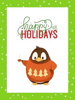 Happy holidays greeting card in frame and penguin