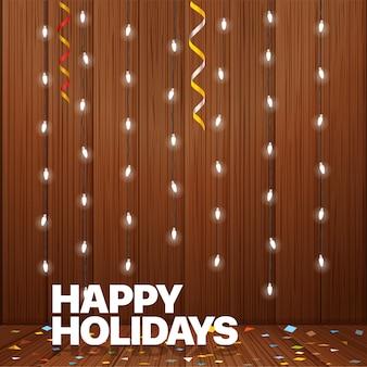 해피 홀리데이 인사말 카드입니다. 조명 화환 그림입니다. 나무 벽에 빛나는 램프