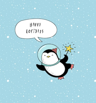 Happy holidays greeting card with astronaut penguin in space