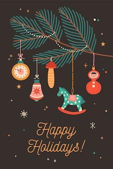 Поздравительная открытка с праздниками и елочными игрушками