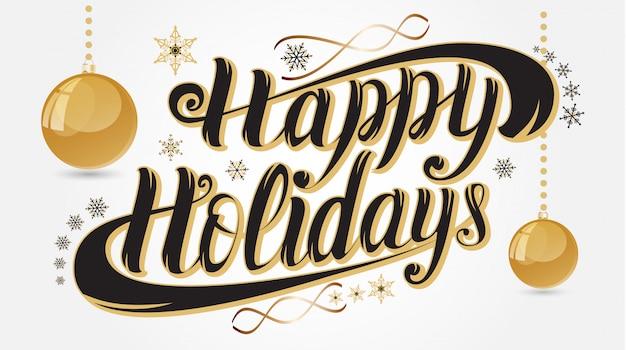 Happy holidays ручной надписи поздравительных открыток