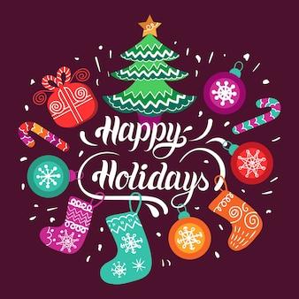 Счастливых праздников, надписи дизайн с элементами праздничного нового года. рождественская типография.