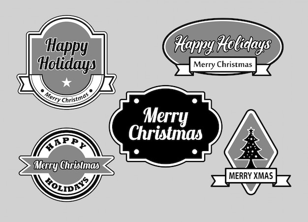 Happy holidays and merry christmas badges