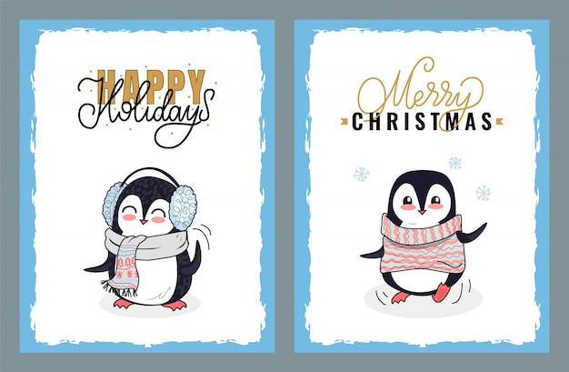 Happy holidays and merry christmas greeting cards