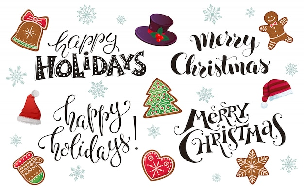 Happy holidays and merry christmas lettering for greeting card