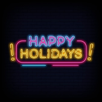 Happy holidays neon text vector