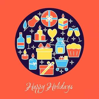 Happy holidays round banner