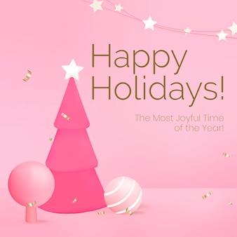 Buone vacanze modello di social media, albero di natale rosa vettore