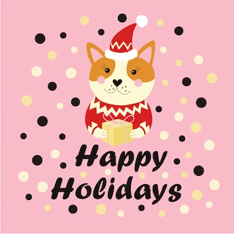 Happy holidays text winter holidays greeting card with dog