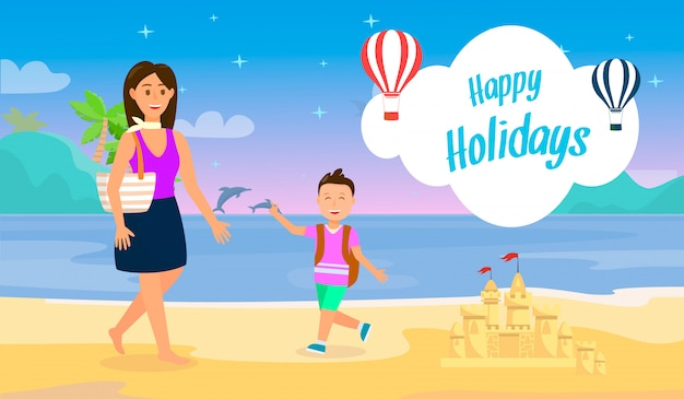 Happy holidays travel postcard with lettering.
