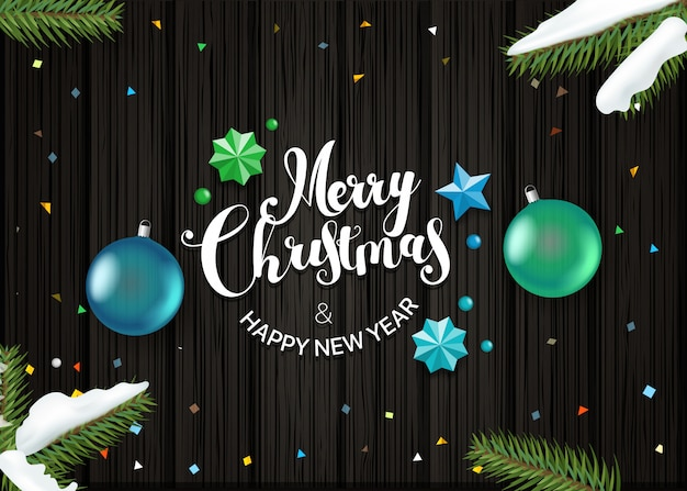 Happy holidays wishing card vector template. top view composition