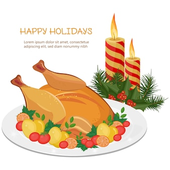 Happy holidays with turkey and candles