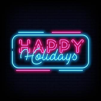 Счастливых праздников неоновый текст вектор. шаблон оформления неоновых вывесок happy holidays