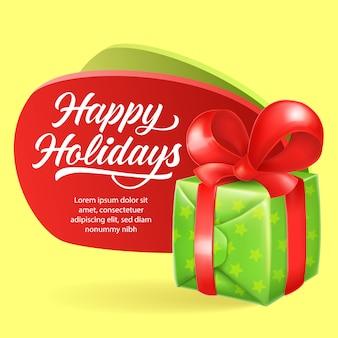Happy holidays праздничный дизайн флаера. зеленая подарочная коробка