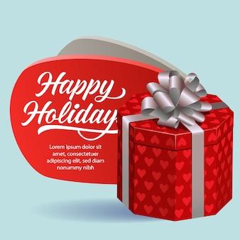 Happy holidays праздничный дизайн флаера. красная подарочная коробка