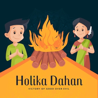 Happy holika dahan design template with indian couple
