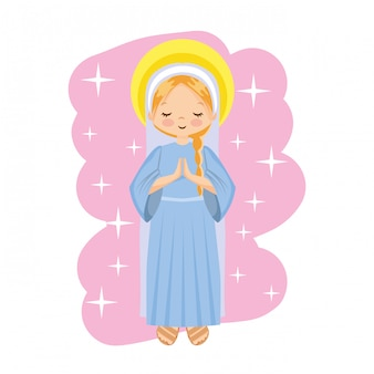 Happy holy mary cartoon