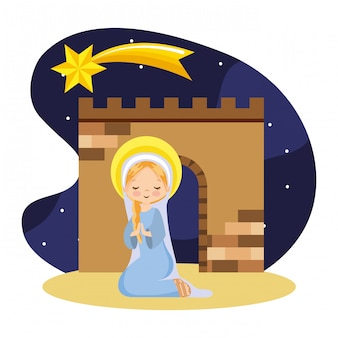 Happy holy mary praying cartoon