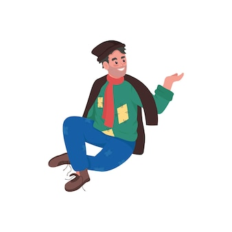 幸せなホームレスの男性フラットカラー詳細なキャラクター漫画イラスト