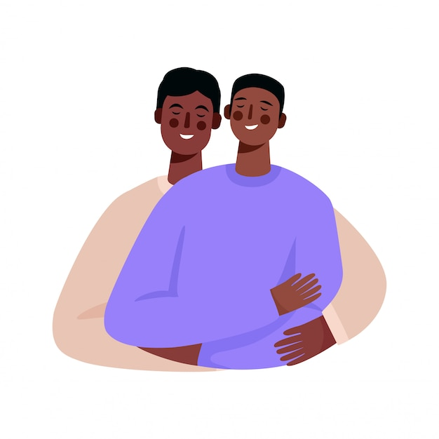 Happy homosexual family, gay couple. two men hugging each other