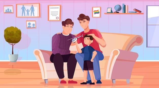 Счастливая гомосексуальная семья с ребенком, сидящим на диване с плоским фоновой иллюстрацией