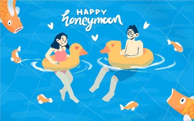 Счастливая иллюстрация медового месяца