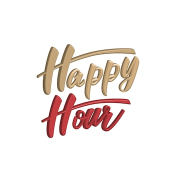 Happy hour 3d lettering design